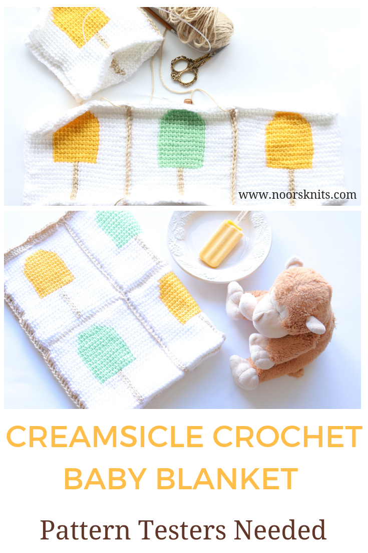 Creamsicle Crochet Baby Blanket Progress and Completed pictures. Pin it now, read later!