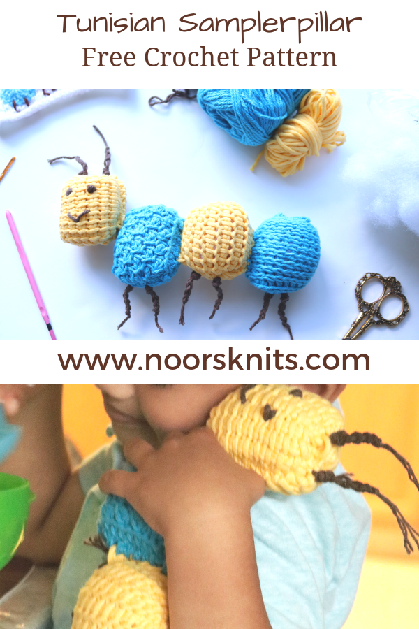 Looking for easy crochet animal patterns for beginners? You're in the right place, try this cute Tunisian crochet sampler caterpillar pattern for beginners!