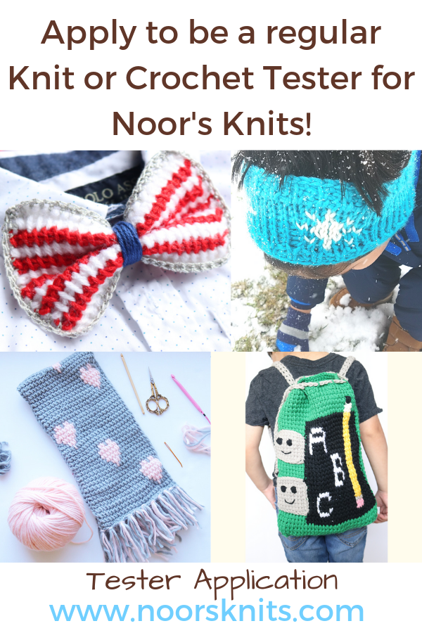 If you are looking for cute crochet and knitting patterns for babies and kids. You can click here and apply to be a regular tester for my fun patterns!