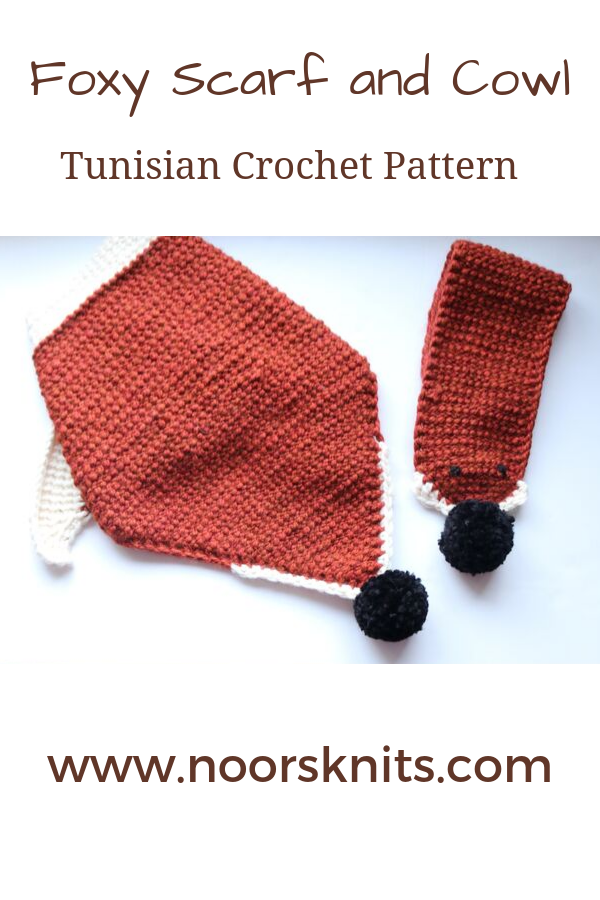Are you looking for unique crochet scarf patterns or crochet scarf patterns for beginners? Get the Tunisian crochet pattern for this fun foxy scarf set.