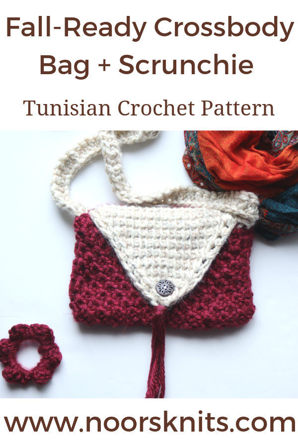 Need a Crochet Bag Pattern for Beginners? This Crossbody Bag + scrunchie Tunisian crochet pattern is simple enough for beginners + fun for all levels.