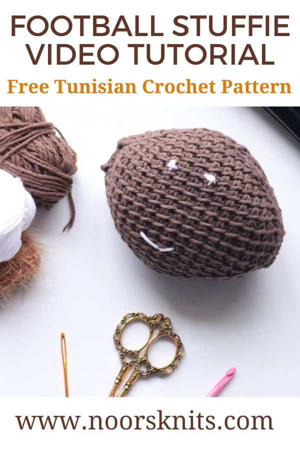 Are you looking for an easy crochet football pattern? This Tunisian Football Stuffie is a great beginner Tunisian crochet project with full video tutorial!