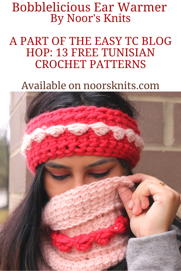 Check out this easy Tunisian crochet pattern for a chunky ear warmer that can be made with a regular hook! Get FREE Tunisian Crochet Pattern PDF on Ravelry!