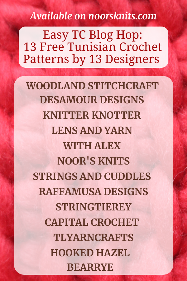 Check out this blog hop for 13 easy FREE Tunisian crochet patterns that can be made with a regular hook! Get each Tunisian Crochet Pattern PDF on Ravelry!