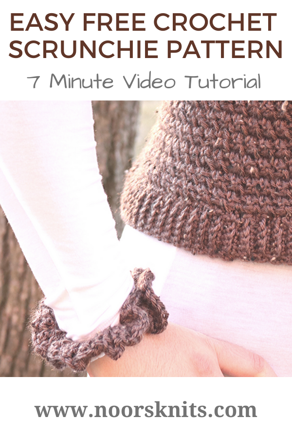 If you're looking for a super cute and easy free crochet scrunchie pattern you are in the right place! Follow along with a full 7-minute video tutorial!