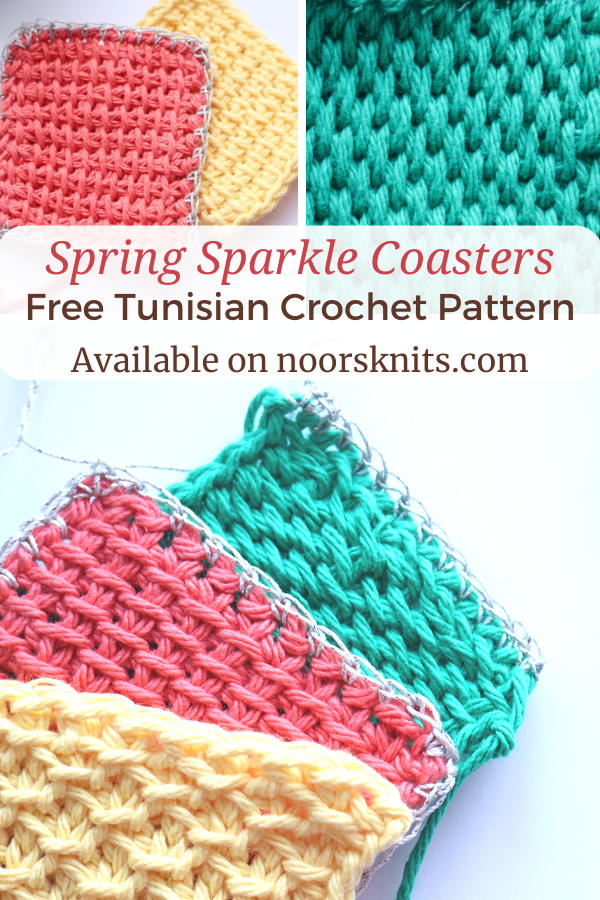 Use up your yarn stash with this free crochet coaster patterns for beginners. The Spring Sparkle Coaster set is great to practice Tunisian crochet stitches.