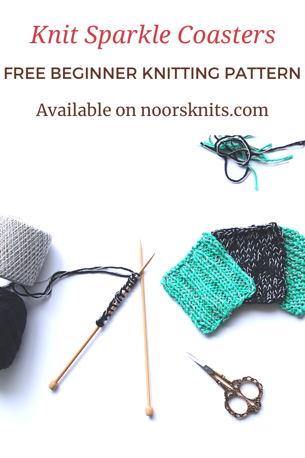 This knit coaster pattern easy is the perfect knitting stash buster. Practice the basic knit stitches with this fun knit sparkle coaster knitting pattern!