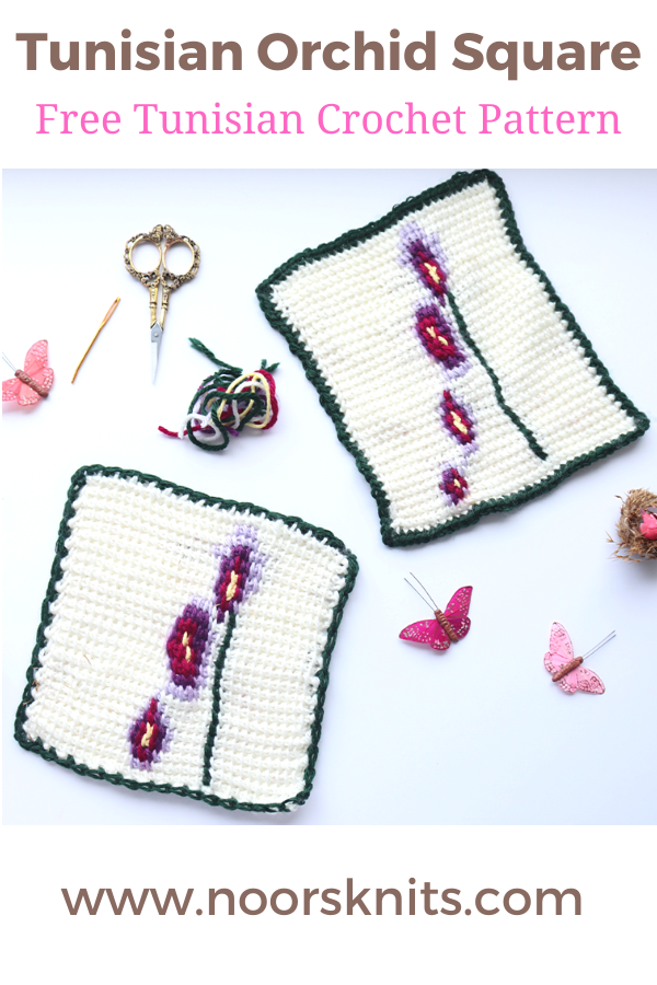 This fun FREE Tunisian crochet square orchid pattern is perfect for spring! This crochet square has video tutorials linked and a color chart PDF option!