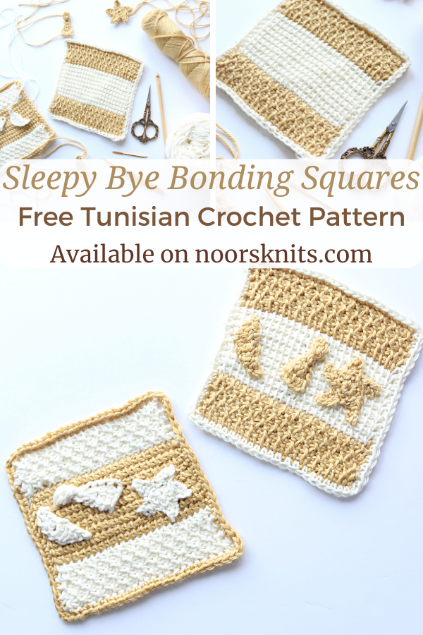 Here is a FREE pattern for a set of Tunisian crochet bonding squares. It's a mindless crochet charity project to practice Tunisian crochet!