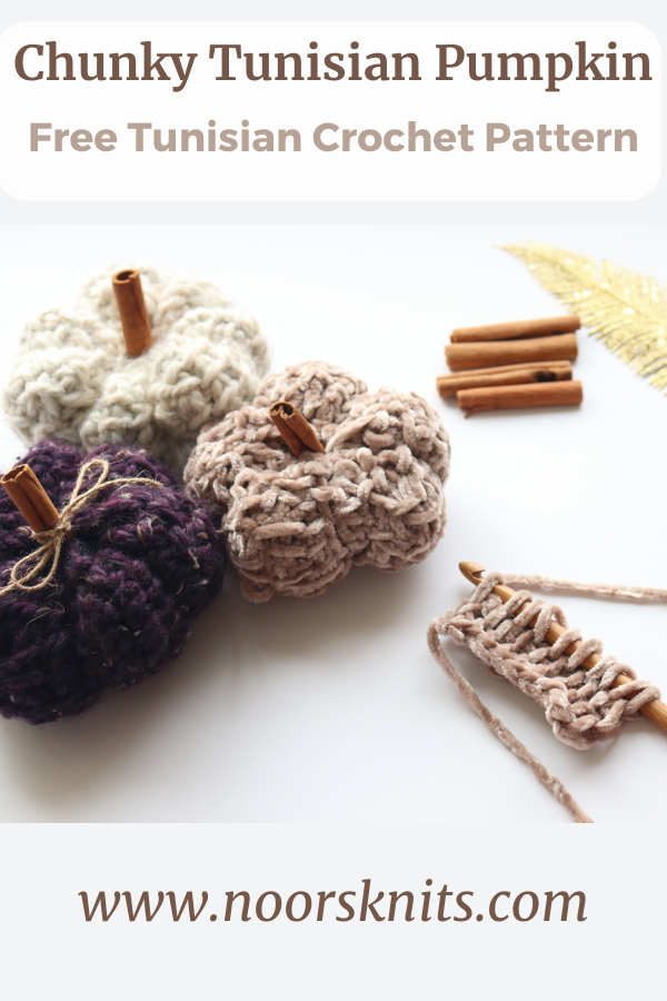 Check out this cute chunky pumpkin Tunisian crochet free pattern! It works up super fast and you get a perfect textured crochet pumpkin!