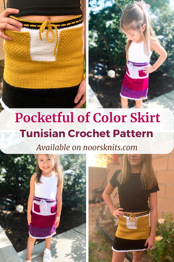 Check out this super cute color block Tunisian crochet skirt pattern for sizes 18 months to 10 years on Etsy and Ravelry!