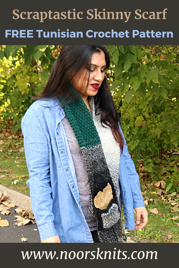 The Scraptastic Skinny Scarf is a great scrap yarn scarf crochet stashbuster and an easy crochet scarf pattern for mindless crochet!