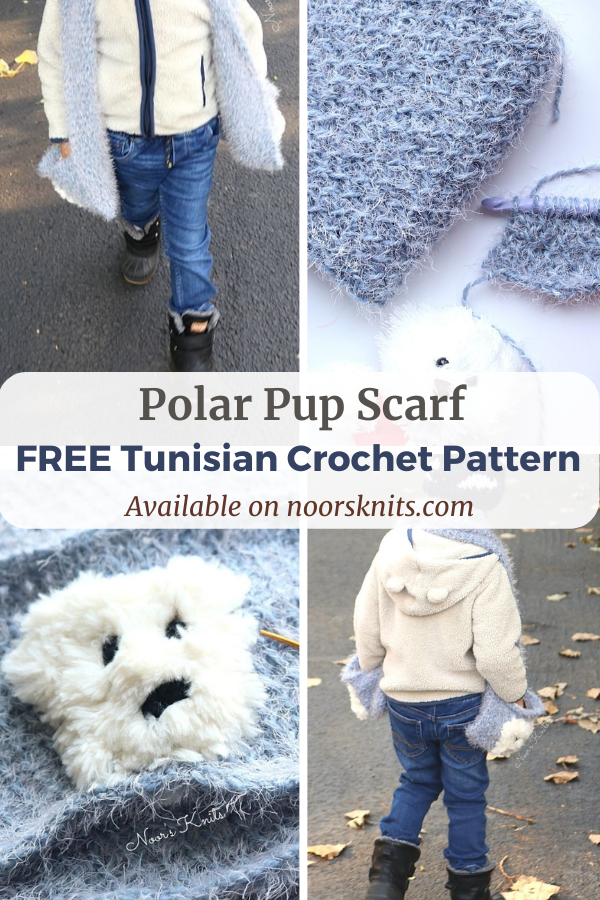 The Polar Pup Scarf is a fun free Tunisian crochet animal scarf pattern for your little one to cozy up with this winter. Has stitch tutorials.