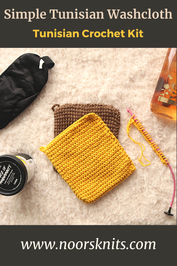 This beginner crochet kit is the perfect Tunisian crochet kit with the materials and pattern to make your first Tunisian crochet project.