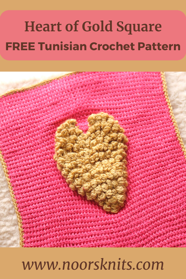Need free bobble stitch crochet patterns? You are in the right place. Check out this fun Tunisian crochet bobble stitch heart square pattern!