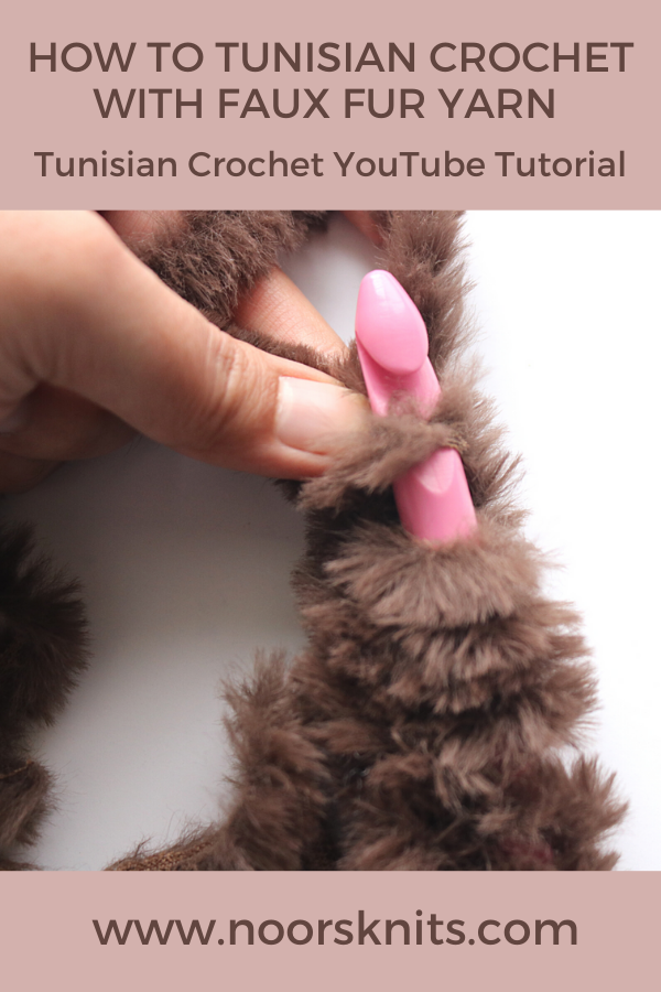 Check out this Tunisian crochet YouTube tutorial for how to crochet with fur yarn. Easy hacks to follow when crocheting with fur yarn!