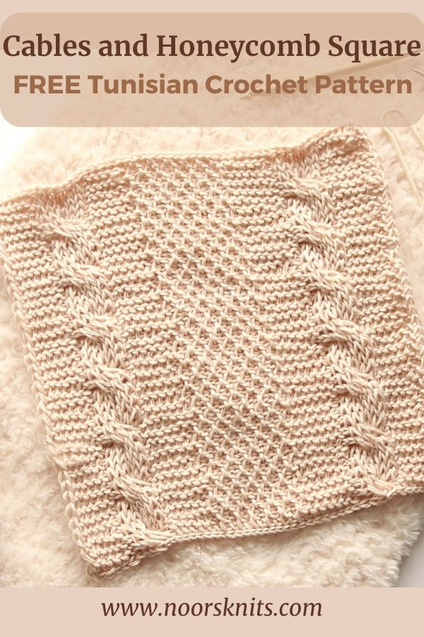 Give this free Tunisian crochet cable square pattern a try! A mix of the honeycomb and cable crochet stitches creates a beautiful texture!
