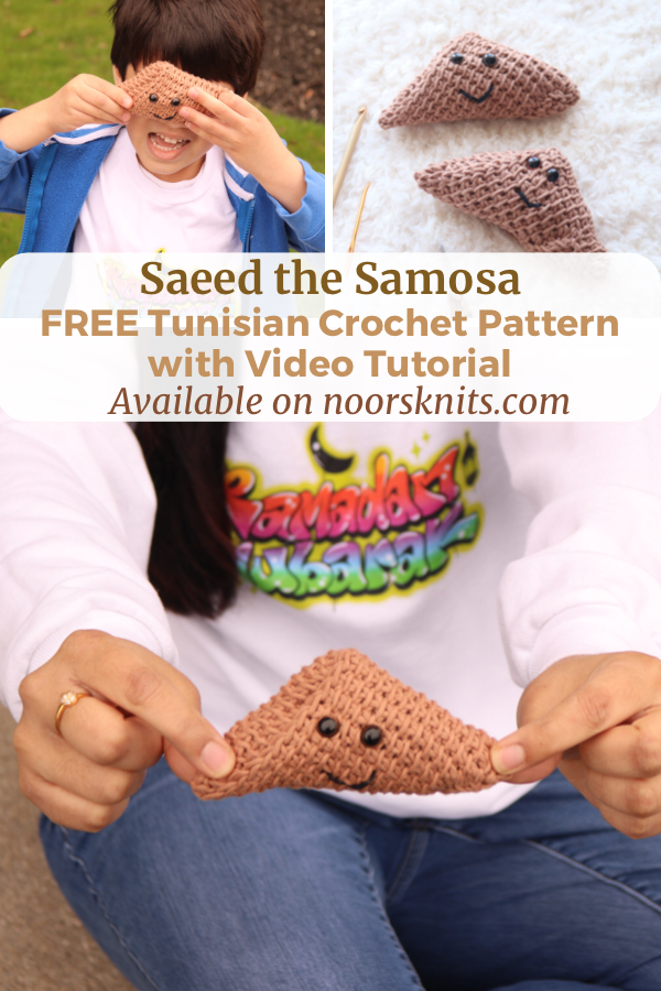 Looking for a free crochet food pattern?! Try your hand at this cute Tunisian crochet Samosa pattern with a full video tutorial!