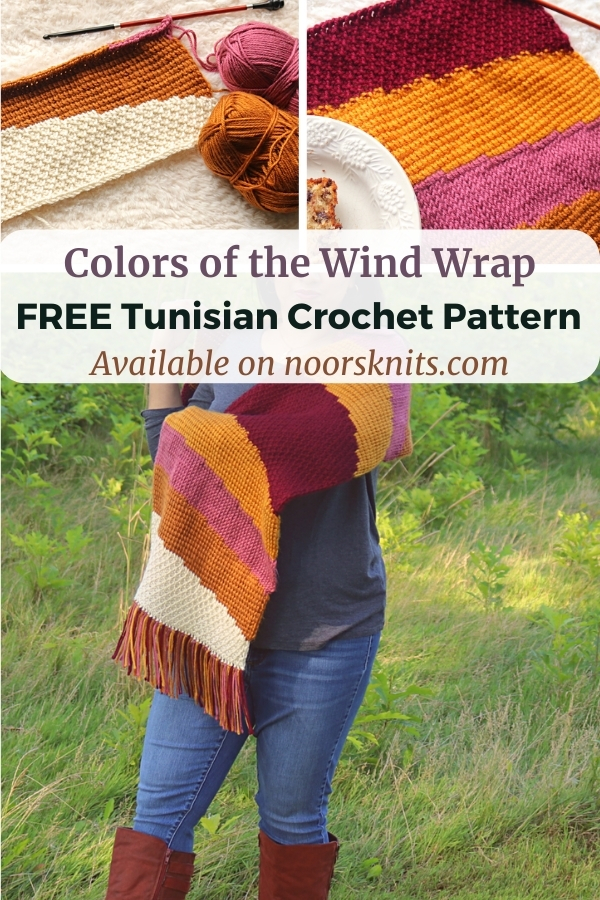 Practice some fun Tunisian crochet stitches with this FREE Tunisian colorblock crochet wrap pattern as part of Furls Crochet Blog Hop!