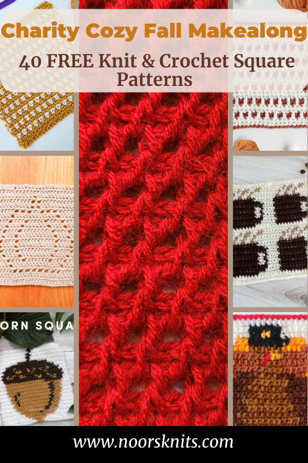 A fun charity makealong for Cure Childhood Cancer featuring 20 free knit square patterns and 20 free crochet square patterns.