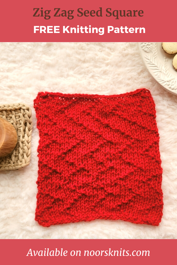 Want free knitted square patterns to practice the knit seed stitch in a fun zig zag pattern? Check out the FREE Zig Zag Seed Square pattern!