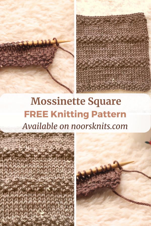 Make this fun knit blanket square pattern to practice knit moss stitch and stockinette stitch. Check out the FREE Mossinette Square pattern!